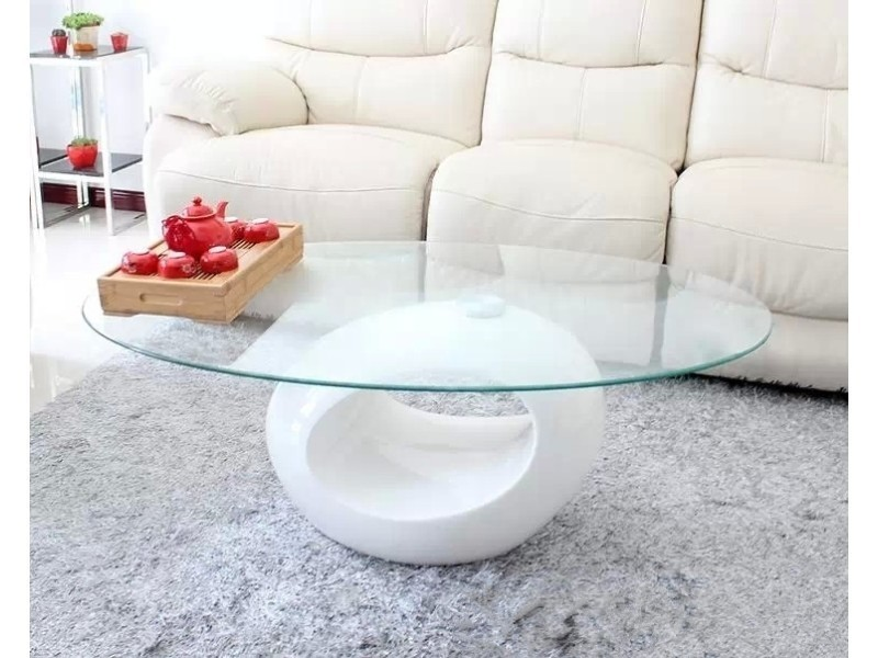 Table basse design blanche en verre maxus vente de - Table basse conforama blanche ...