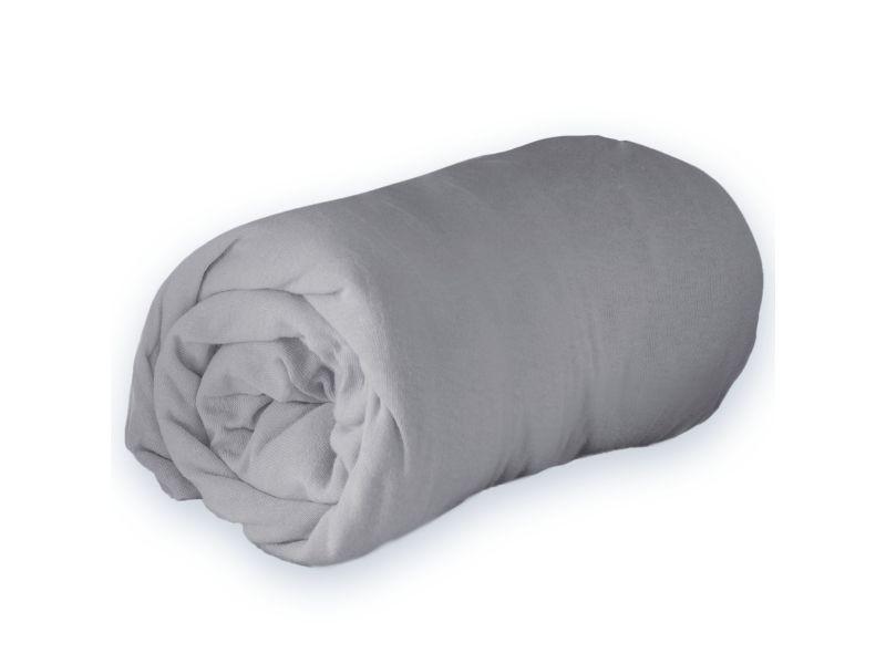 Drap housse jersey - gris 140 x 190 cm 1640319-gris