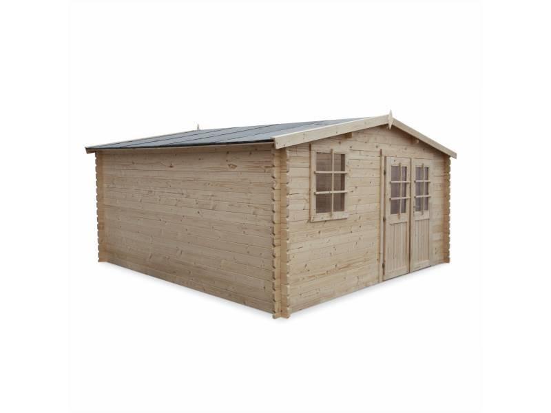 Abri de jardin boscodon en bois fsc de 16,4m², structure en madriers 34mm, sapin séché