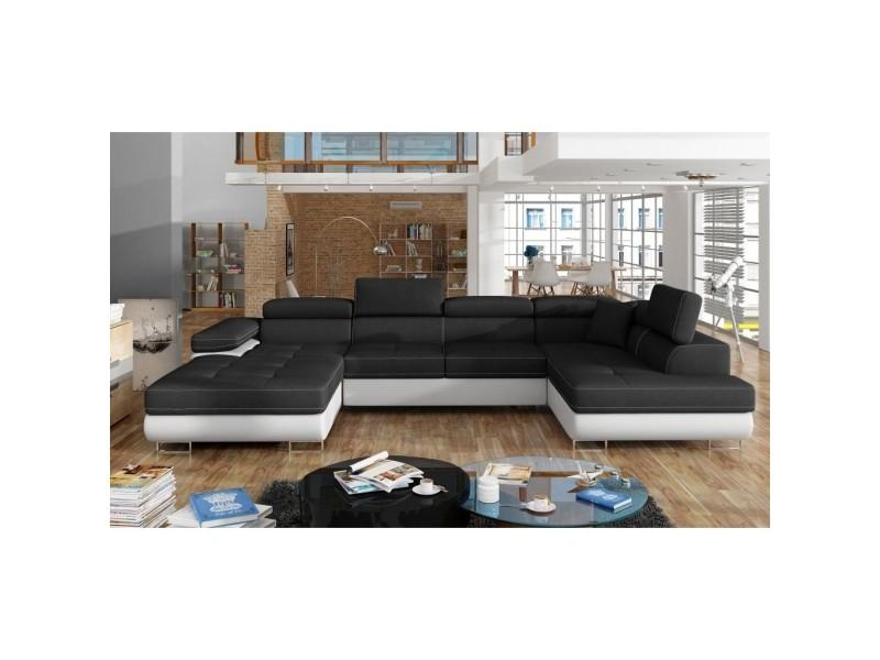 Canapé panoramique convertible coffre de rangement en tissu noir et simili blanc oregon – angle gauche RODRIGO-NO-BL-M+2A2