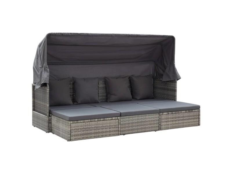 Joli mobilier de jardin serie kiev lit de jardin et toit gris mélangé 200x60x124 cm résine tressée