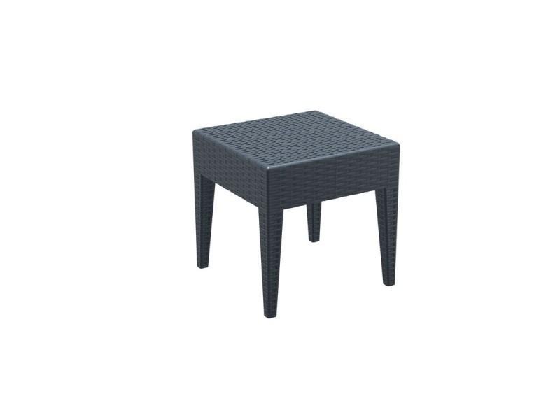 Table basse de jardin carré étanche en plastique gris foncé 45x45x45 ...