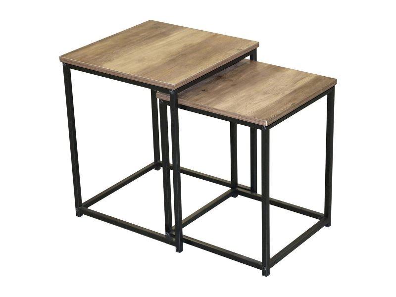 Lot de 2 tables d'appoint carrées joya