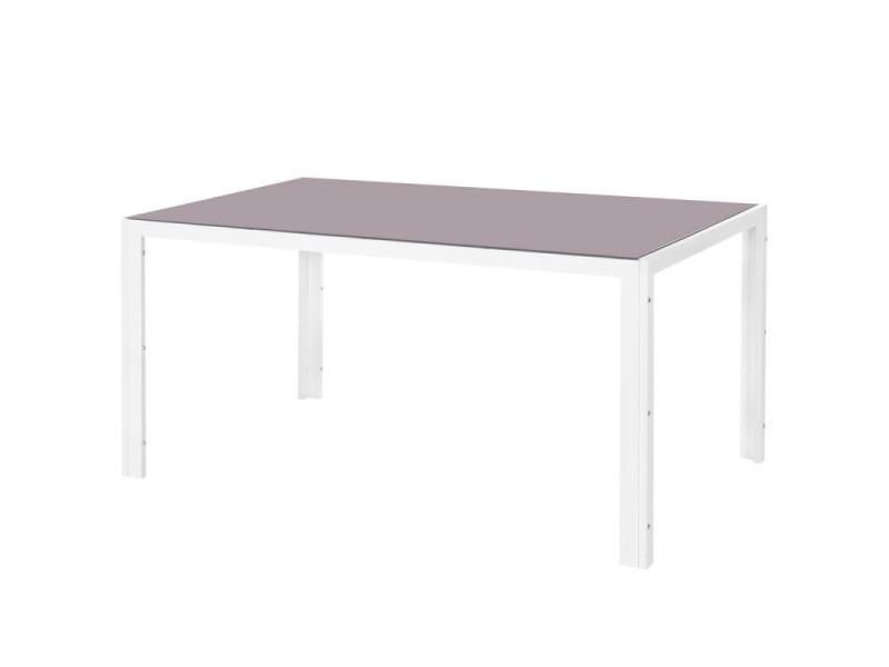 Table de repas acier blanc/verre taupe - vado - l 150 x l 90 x h 74 ...