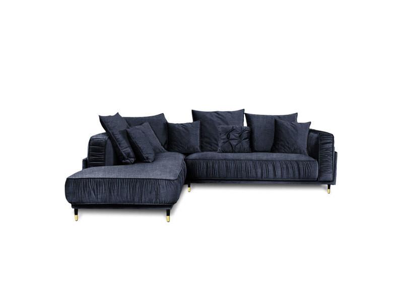 Canapé tissu angle gauche bleu fiorenzo - 4 places