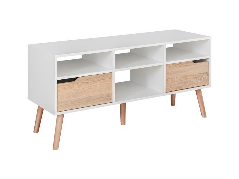 Sven - meuble bas tv style scandinave salon séjour - 117x58x38 cm - meuble télévision avec rangements 2 tiroirs - aspect bois - blanc/chêne