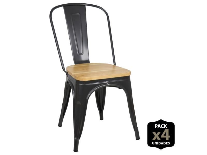 Lot de 4 chaises industriels tulio assise bois -gun metal PACK4-RF9008M-GM