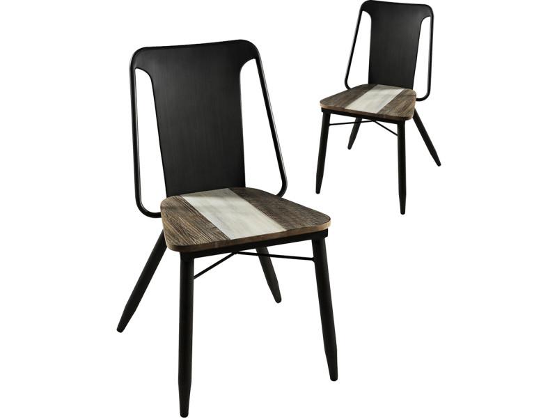 Lot De 2 Chaises Design Industriel Avec Assise En Bois Massif Acacia Dossier Et Pietement Acier