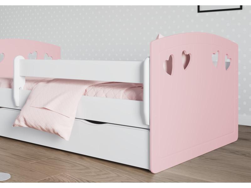 Rose tiroirs sommier matelas offert ! Lit enfant julia 80 cm x 160 cm avec barriere de securite