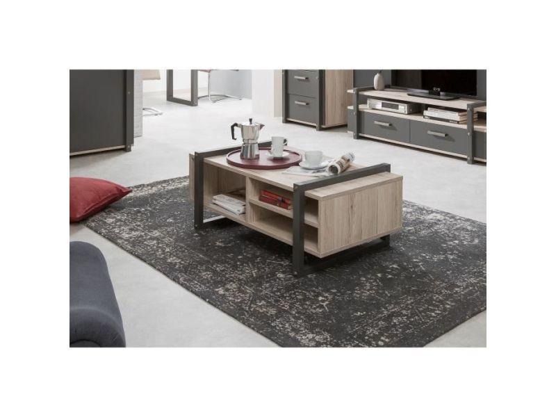 Table basse brooklyn table basse style industriel décor chene et gris anthracite - l 100 x l 60 cm