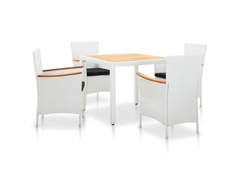 Sublime mobilier de jardin gamme bagdad salon de jardin 5 pcs résine tressée blanc