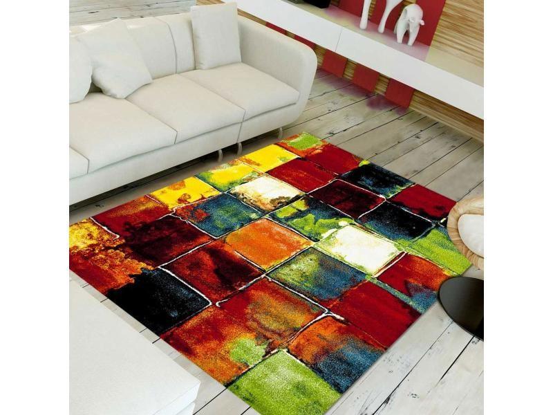 Tapis contemporain pour la chambre jolia 2 vert, bleu, rouge, orange ...