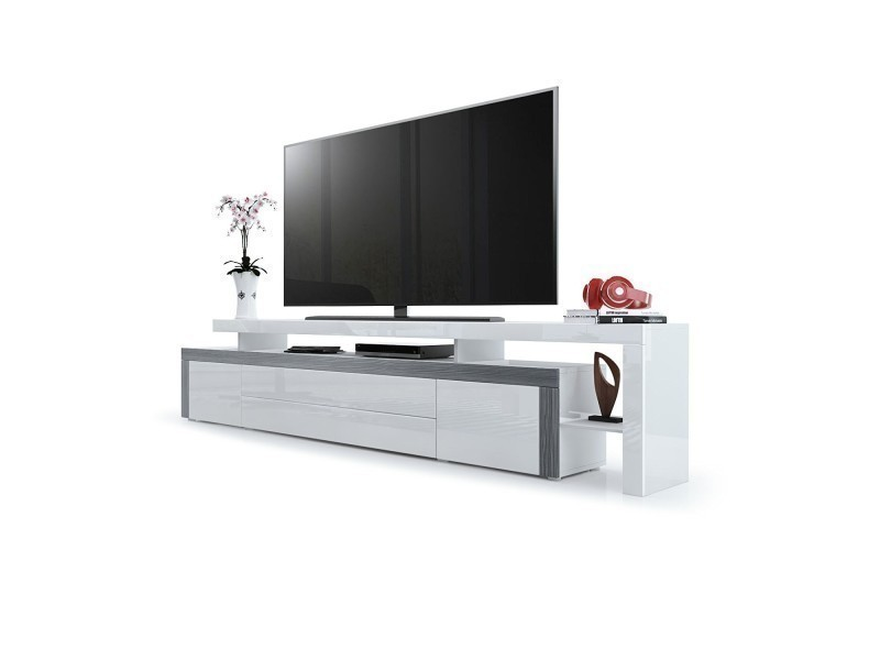 Meuble tv avola-anthracite / laqué blanc 227 cm