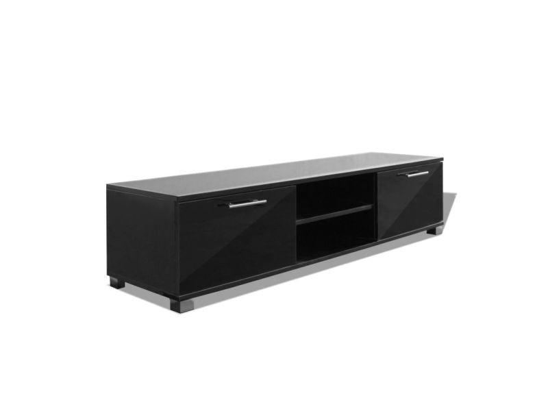 Meuble télé buffet tv télévision design pratique noir brillant 120 cm helloshop26 2502210