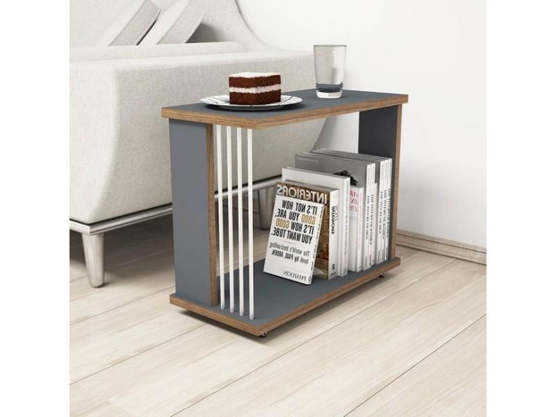 Homemania table basse nicol porte-revues, livres - pour salon, canapé - anthracite, noyer, blanc en bois, 50 x 24 x 42 cm