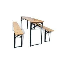 Vidaxl ensemble de table et bancs trois pièces pliable pinède