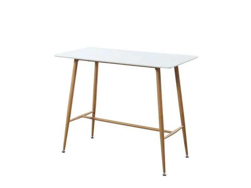 Table a manger seule alina table bar scandinave - blanc laqué satiné - l 120 x l 60 cm