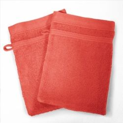 Lot de 2 gants de toilette 15 x 21 cm rouge corail