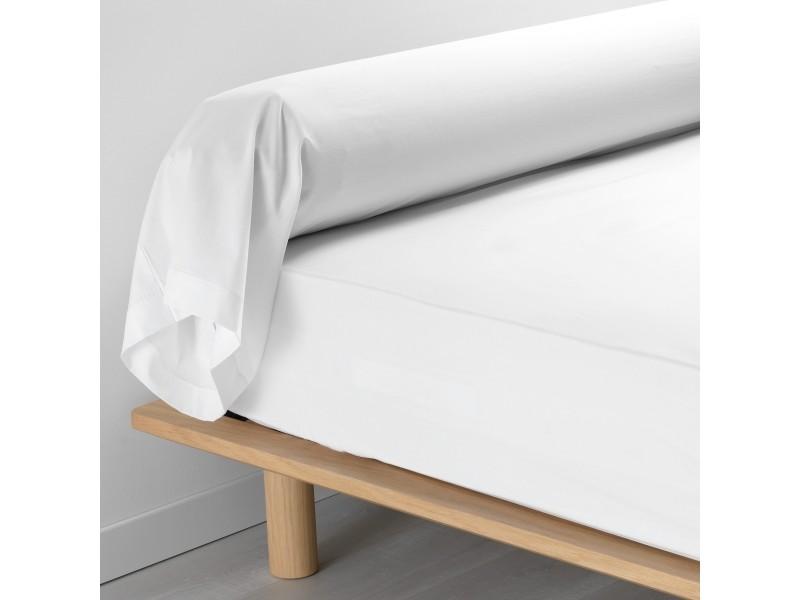 Taie de traversin unie 100/% Coton 45x185cm Blanc