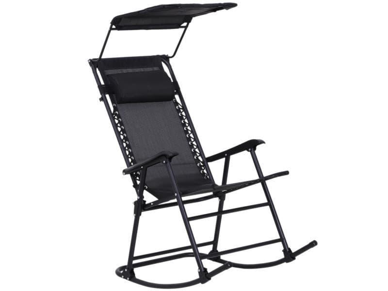 Fauteuil à bascule rocking chair pliable de jardin dim. 105l x 64l x 125h cm tétière + pare-soleil inclus acier époxy textilène noir