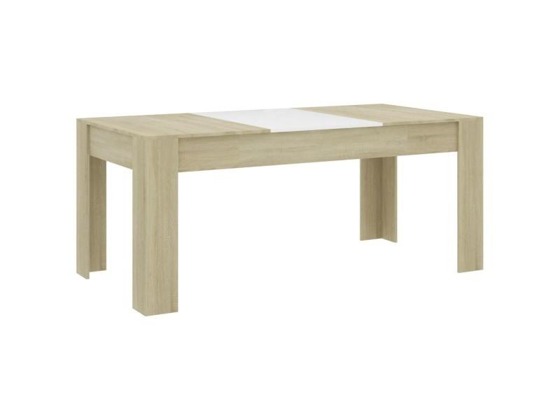 Vidaxl table à dîner blanc et chêne sonoma 180x90x76 cm aggloméré 801306
