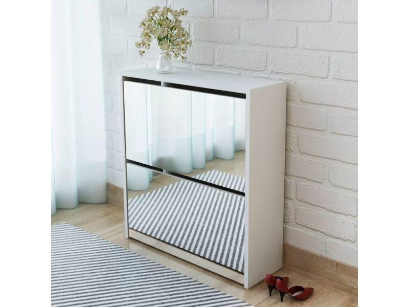 Superbe rangements pour armoires à vêtements reference tripoli meuble à chaussures 2 étages avec miroir 63 x 17 x 67 cm blanc