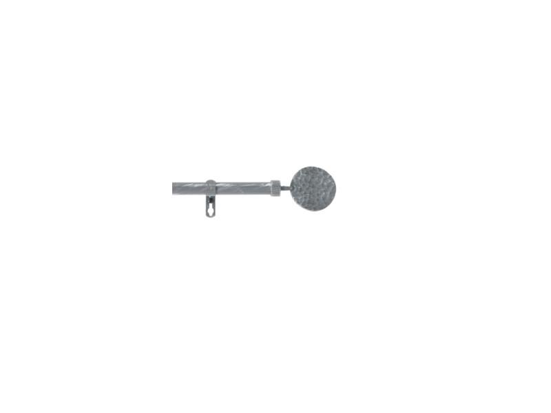 Kit tringle à rideau extensible - 210-380 cm - bullette - gris et argenté