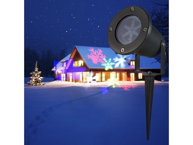 Projecteur Led Pour La Cour Jardin Lumiere Coloree Motif De Flocon