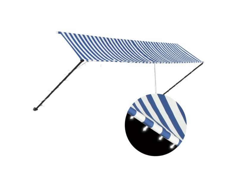 Vidaxl auvent rétractable avec led 400x150 cm bleu et blanc 145906