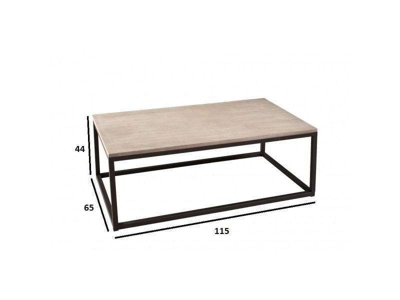 e02409202748d9 Table basse industrielle rectangulaire 115 x 65 cm lea en bois de ...