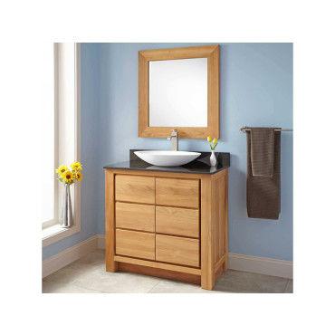 meuble de salle de bain en teck massif et granit 90 cm valencia vente de wildwater conforama. Black Bedroom Furniture Sets. Home Design Ideas