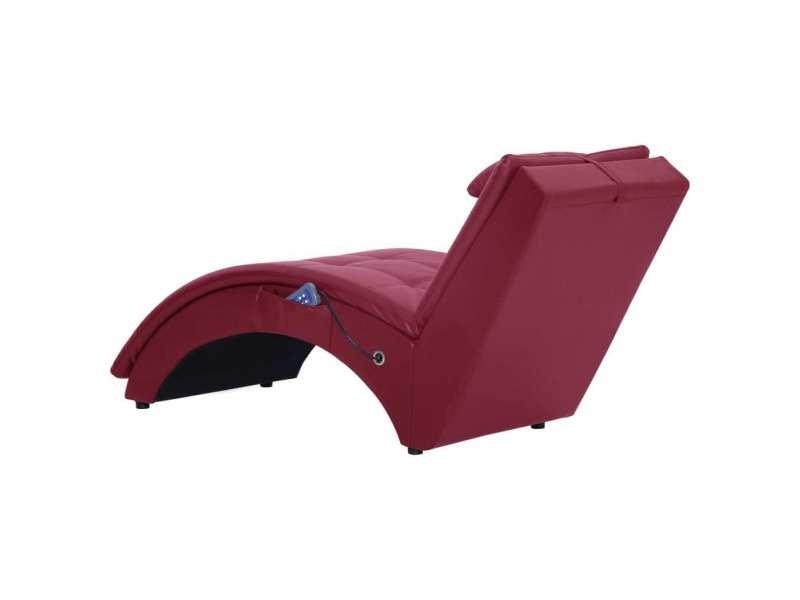 Vidaxl chaise longue de massage avec oreiller rouge bordeaux