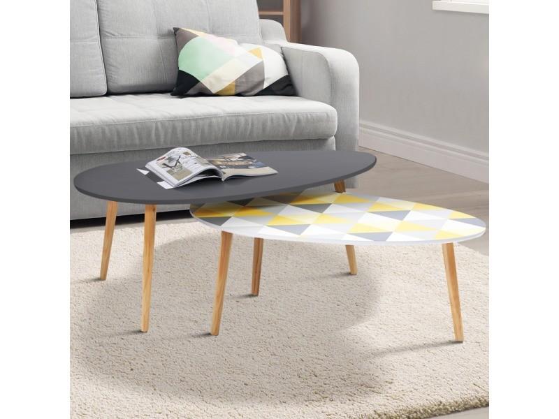 Lot de 2 tables basses gigognes gigi laquées gris motifs blanc jaune gris