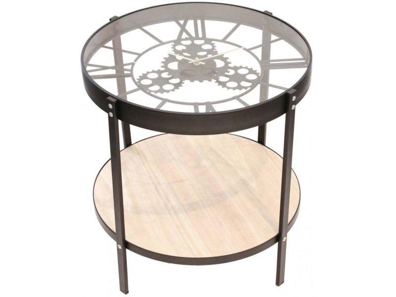 Table d'appoint en métal et bois horloge 50 cm