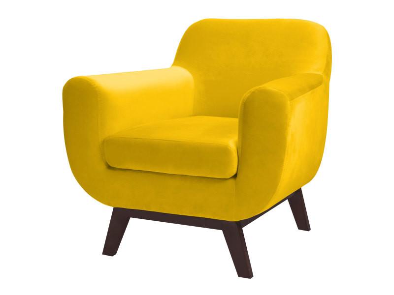 fauteuil copenhague en velours jaune conforama. Black Bedroom Furniture Sets. Home Design Ideas