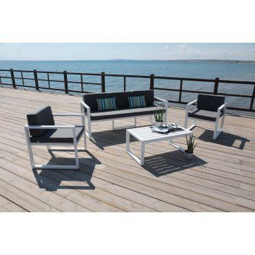 Salon de jardin en aluminium 5 places muna - Vente de HEVEA - Conforama