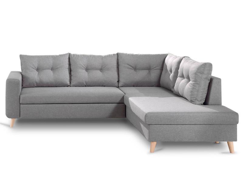 Nordic - canapé scandinave d'angle droite l convertible en tissu - 234x86x188cm couleur - gris clair