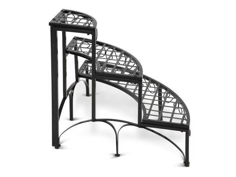 escalier tag re porte plantes d 39 angle en fer 3 niveaux m tal noir helloshop26 2201057 vente. Black Bedroom Furniture Sets. Home Design Ideas