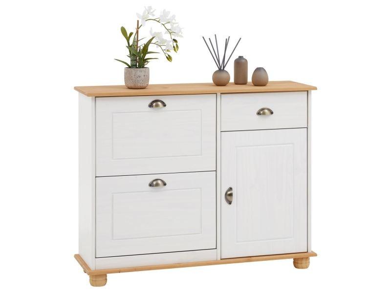 Meuble à chaussures colmar armoire rangement avec 2 abattants 1 tiroir et 1 porte avec 1 étagère, en pin massif lasuré blanc et brun