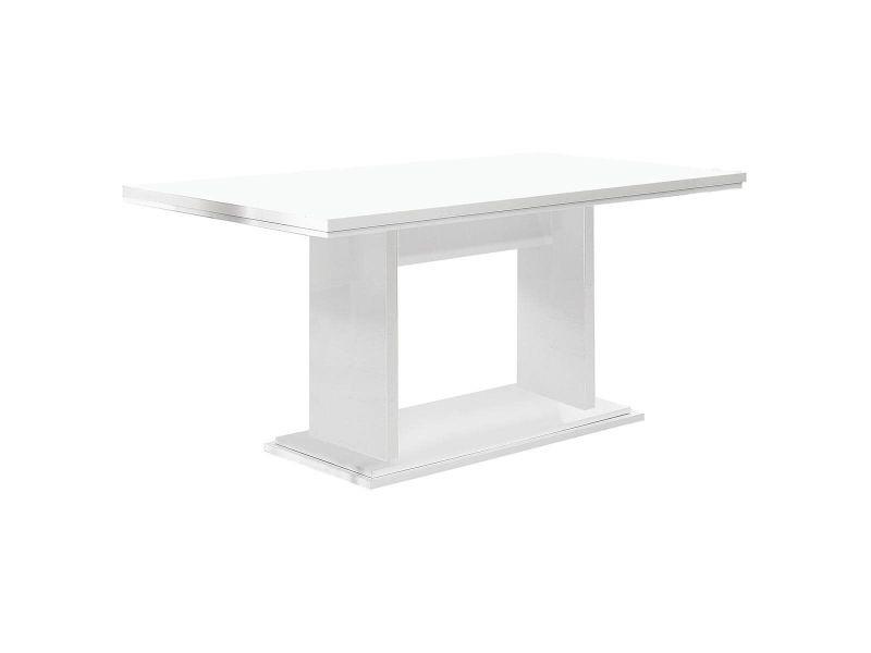 Tahoe - table repas 160cm plateau laqué blanc brillant