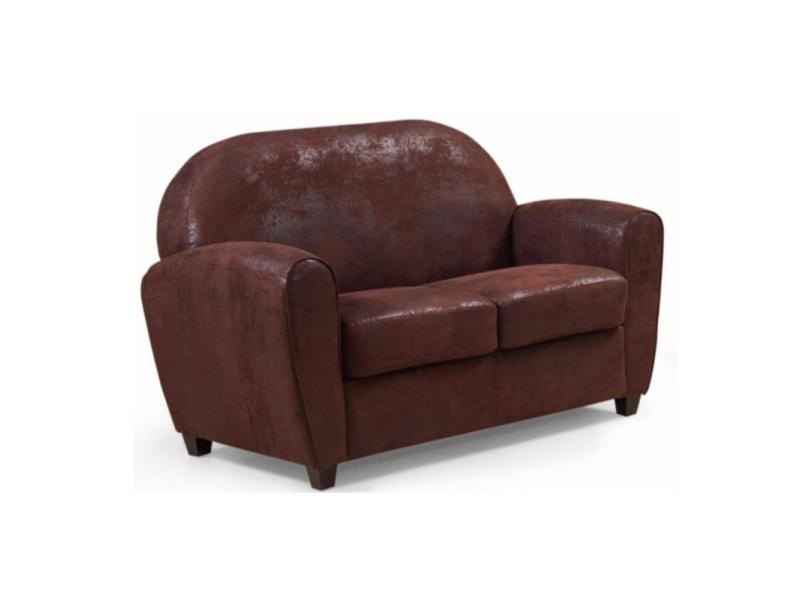 canap club bufallo 2 places en microfibre vintage marron. Black Bedroom Furniture Sets. Home Design Ideas