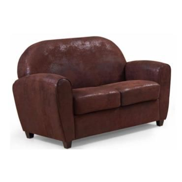 canap club bufallo 2 places en microfibre vintage marron 20100865409 vente de canap droit. Black Bedroom Furniture Sets. Home Design Ideas