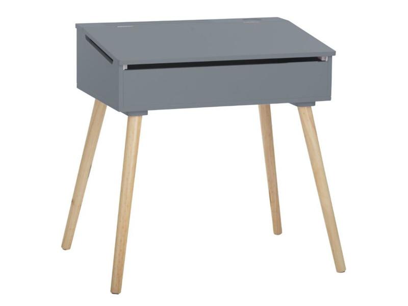 Pupitre d'écolière simple pour enfant coloris gris - l.63,5 x l.45,5 x h.62,4 cm -pegane-