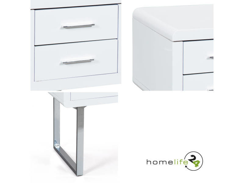 Bureau moderne chic 2 tiroirs rangement blanc laqué brillant