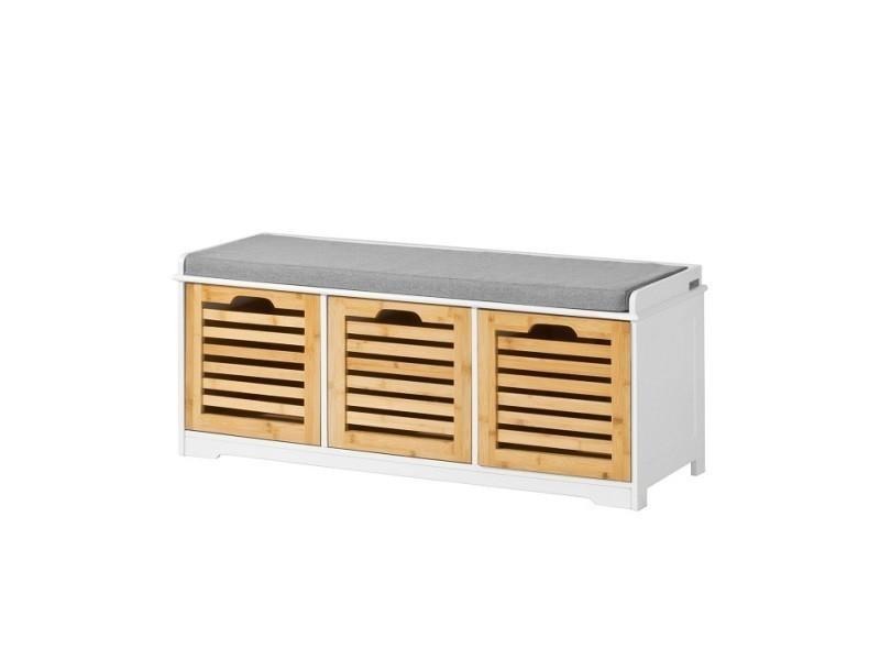 Banc de rangement avec coussin rembourré et 3 cubes, meuble d'entrée commode à chaussure banquette confortable sobuy® fsr23-wn