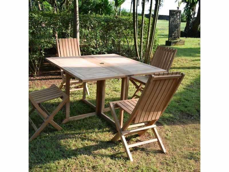 Table pliante carrée en teck ecograde goa 120 x 120 cm Teck massif de qualité Ecograde©
