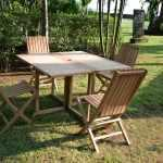 Table pliante carrée en teck massif 120 x 120 cm, goa