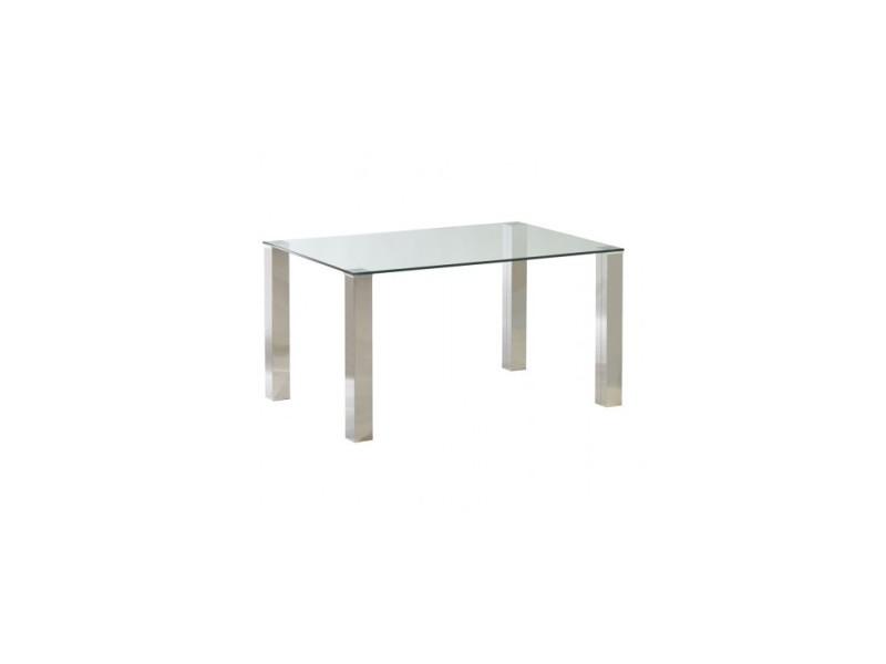 Table à manger 140 cm verre et chrome tower