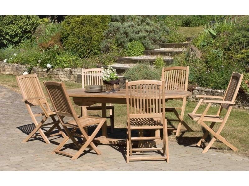 Salon de jardin en teck avec 1 table ovale et 4 chaises et 2 ...