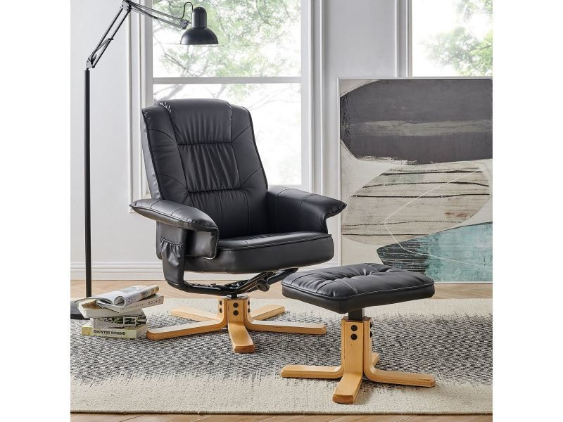 fauteuil de relaxation charly avec repose pieds pouf si ge pivotant dossier inclinable assise. Black Bedroom Furniture Sets. Home Design Ideas
